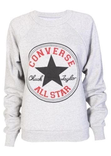 LADIES WOMEN GEEK CONVERSE DOPE PRINT SWEATSHIRT JUMPER LOOK SLEEVED FLEECE TOP (S/M 8-10, Grey Converse)