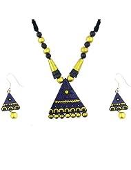 "ARTWOOD ""Wooden Bronze Geometry"" Indo-Western Fusion 3-piece TerraCotta Jewellery Set"