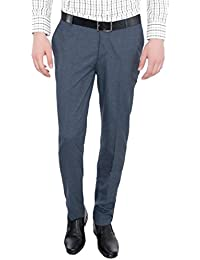 Only Vimal Men's Blue Slim Fit Formal Trouser - B01H1XWSOO