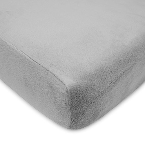 American Baby Company Heavenly Soft Chenille Fitted Crib and Toddler Sheet, Steel Gray - 1