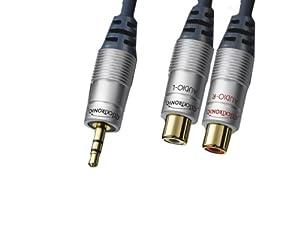 Clicktronic HC 920-150 Stereo Klinken/Cinch Verlängerungskabel (1x 3,5 mm Stecker auf 2x Cinch-Stecker, vergoldete Kontakte) 1,5 m