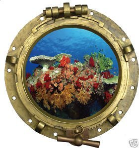 Stickersmania - Wall sticker with illusion of porthole on corals 35 x 33 cm