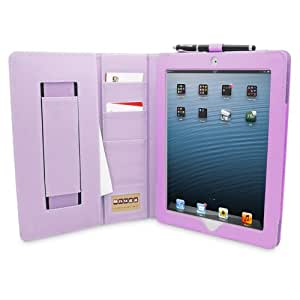 Snugg™ iPad 3 & 4 Case - Executive Smart Cover With Card Slots & Lifetime Guarantee (Purple Leather) for Apple iPad 3 & 4