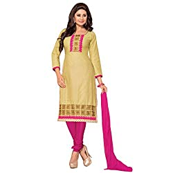 Beautiful Cream And Pink Embroidery Dress Material