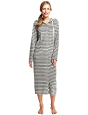 Per Una Hooded Striped Velour Dressing Gown