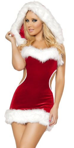 Roma Costume Sexy Cut Out Back Velvet Faux Fur Holiday Mini Dress S/M