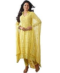 Ethnic Bazaar Women Georgette semi-stiched Salwar Suit (Dinnar-1410 _Yellow _Free Size)