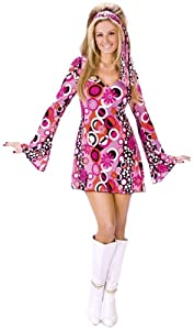 FunWorld Women's Feelin' Groovy, Pink, S/M 2-8 Costume
