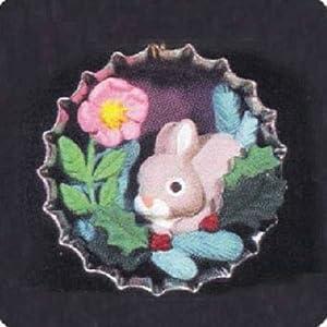 QXC4191 Bottlecap Holiday Bunny 1996 Hallmark Miniature Keepsake Club Exclusive Ornament