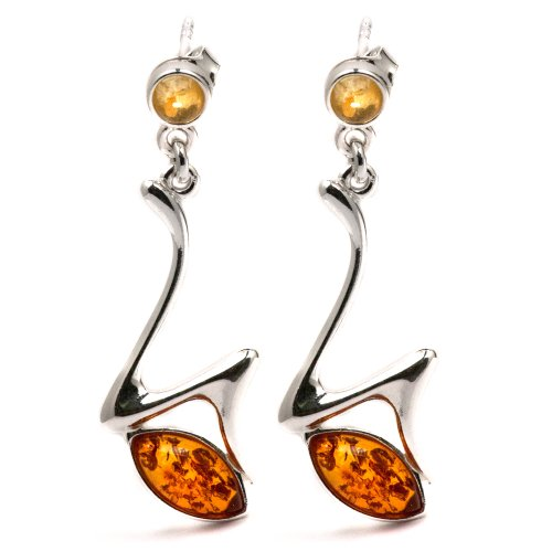 Sterling Silver Baltic Amber a Lightning Eye Earrings