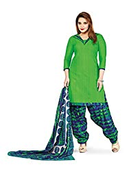 PShopee Green & Blue Printed Cotton Unstitched Semi Patiala Suit Material