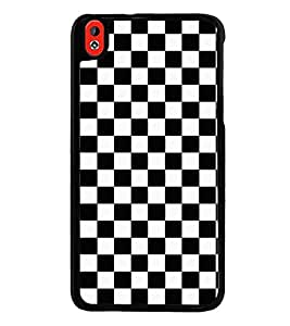 Fuson Premium 2D Back Case Cover Black and white checks With red Background Degined For HTC Desire 816::HTC Desire 816 G