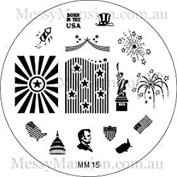 Messy Mansion Mm15 Nail Art Stamping Plate 4th July Themed