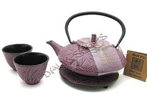 Raspberry Color Cast Iron Tea Set Bamboo #ts7-06wr by JapanBargain