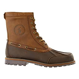 Polo Ralph Lauren Men\'s Whitsand Boot, Dark Brown/Tan, 9 D US