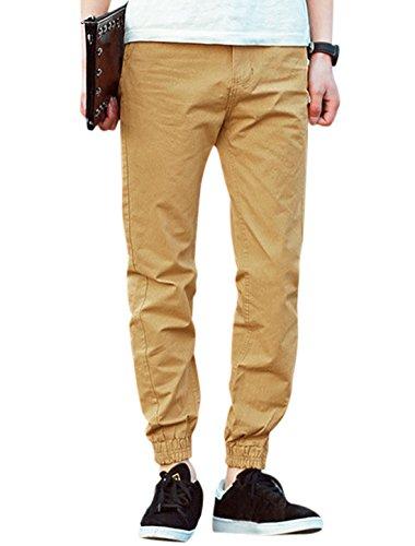Men Elastic Thigh Cuffs Two Slant Pockets Leisure Pants Khakis W32