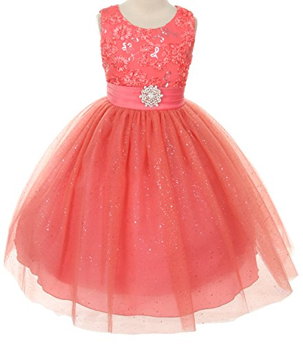 Floral Embroidered Sparkly Sequin Flower Girl Dress Pageant Bridesmaid Wedding Coral 2-14 front-304567