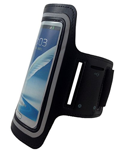 Samsung Galaxy Note 4, Note 3, and Note 2 Neoprene Cell Phone Arm Band for Running, Walking, Hiking, and Other Exercise and Sports Activities by ASCT (Black)