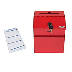 Adir Steel Suggestion Box with Lock- Donation Box - Collection Box - Charity Box - Key Drop Box (Red)