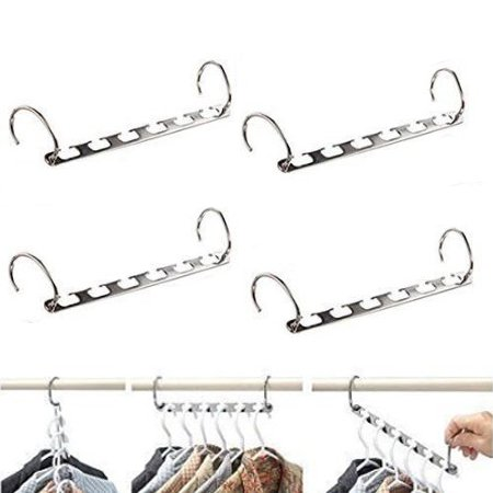 HOUSE DAY Pack of 4 Pcs 10.5 inch Natural Wonder Hanger Stainless Steel Casecader Closet Hanger Organizer for Space Saving (Hanger Space Saver compare prices)