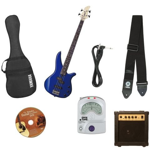 Yamaha GigMaker Electric Bass Package with Amp, Gig Bag, Tuner, Cable, Instructional DVD, and Strap – Blue