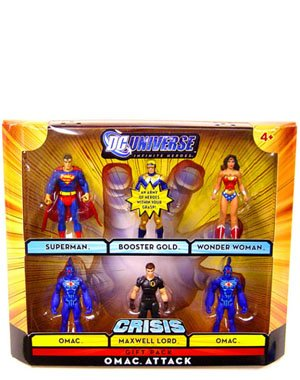 : DC Universe Infinite Heroes Crisis Series Exclusive Action Figure 6Pack Omac Attack Superman, Booster Gold, Wonder Woman, 2 Omacs, & Maxwell Lord