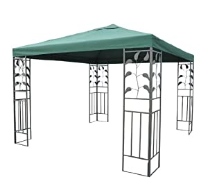 Outsunny 10' x 10' Leaf Frame Steel Gazebo Frame w/ Green Canopy Cover