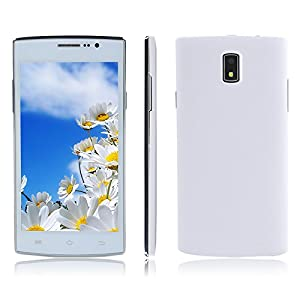 5.0 Inch JIAKE P1 Dual Core Android 4.4 3G Dual SIM Dual Standby WIFI Smartphone SC7715 Dual Core 4GB Dual Cameras 2.0MP GPS Bluetooth FM Protective Case Mobile Phone (+Protective Case, White)