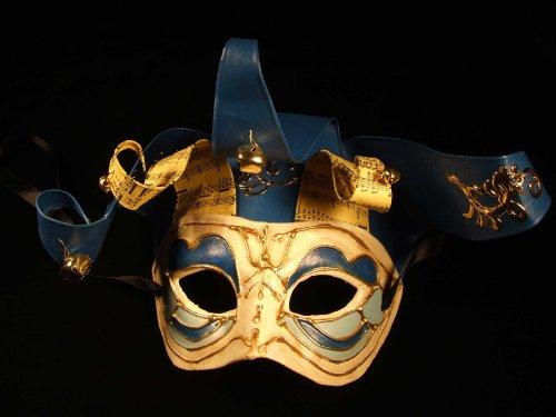 Jolly Jester BLUE Mardi Gras Mask Venetian Ribbon Halloween Costume