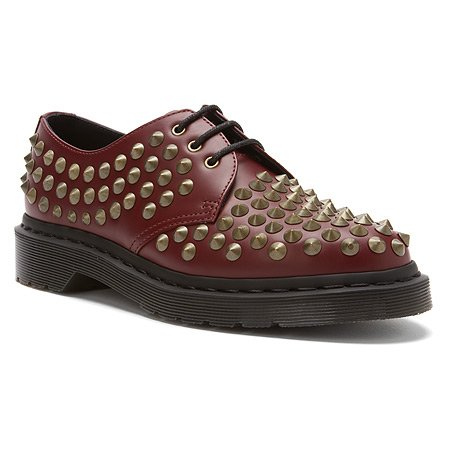 Dr. Martens Women's Harlen Shoe,Cherry Red Smooth Studded,9 UK/11 M US