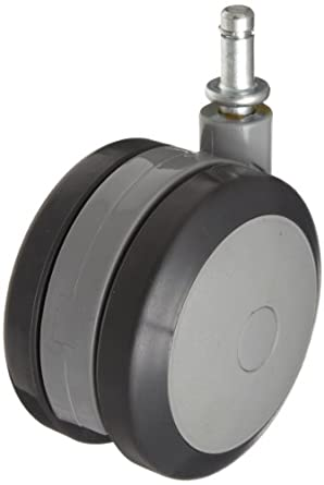 "RWM Casters TwinWheel Stem Caster, Swivel, Grip Ring Stem, Polyurethane Wheel, 220 lbs Capacity, 4"" Wheel Dia, 1-1/4"" Wheel Width, 4-7/16"" Mount Height, 7/16"" Stem Dia, 1"" Stem Height"