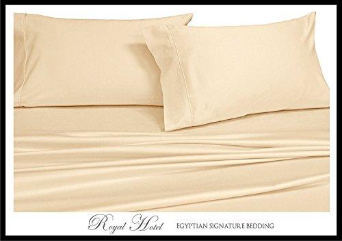 Split-King: Adjustable King Bed Sheets 5PC Solid Ivory 100% Cotton 600-Thread-Count, Deep Pocket (Split Adjustable King Sheets compare prices)