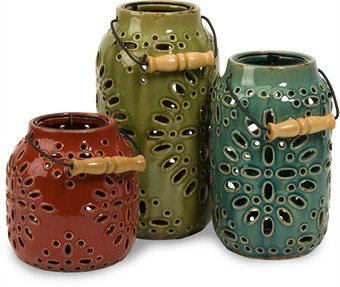Luna Ceramic Lanterns – Set of 3