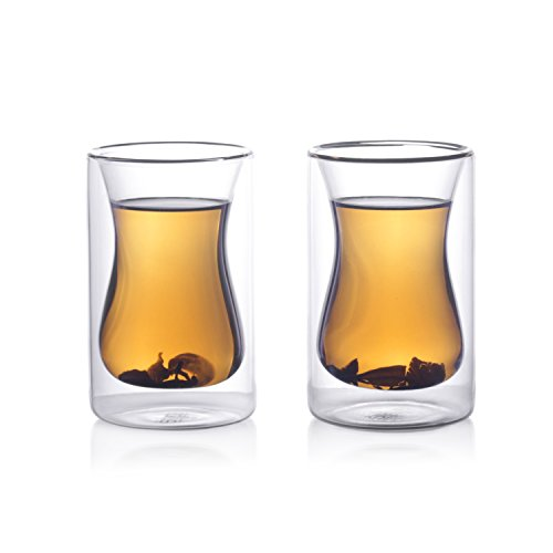 Eparé 6 oz Strong Double Wall Insulated Borosilicate Thermo Glass Turkish Style Tea Cups (Set of 2) (Double Wall Cup compare prices)