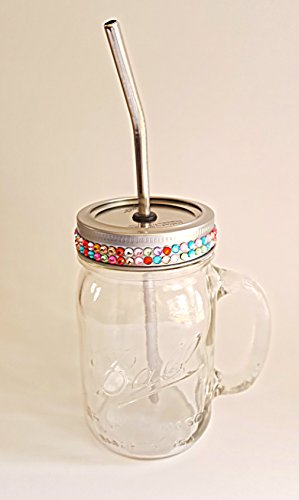 Awesome!! 16oz Ball Mason Jar No-Leak Drinking Mug with Bejeweld Lid and Stainless Steel Reuseable Straw. Kids love it!! (Awesome Jar compare prices)