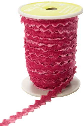 May Arts 3/8-Inch Wide Ribbon, Light Fuchsia Velvet Ric Rac