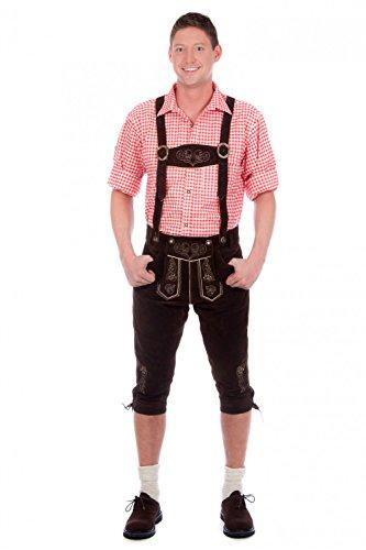 Trachtenset 5-tlg. dunkelbraun bestehend aus Kniebund Lederhose mit Hosenträger, Haferlschuhe, Hemd (rot oder blau) und Socken thumbnail