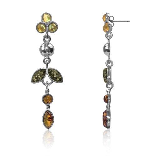 Sterling Silver Multi-color Amber Flower Earrings