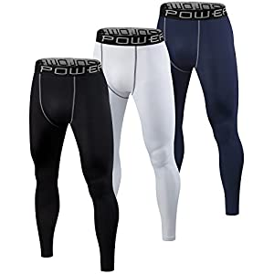 Men's Boys PowerLayer Base Layer / Baselayer Tights Compression Leggings Pants Thermal Skins Under Gear - Black Small
