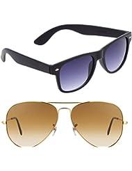 Unisex Uv Protected Combo Pack Of Aviator Sunglasses And Wyafarer Sunglasses ( Black Wayfarer - Golden Shd Brown...
