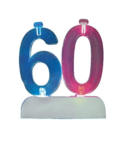 Flashing Number 60 Cake Topper & Birthday Candle Set, 5pc - 1