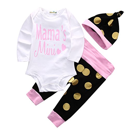 Baby Girls Mama's Mini Bodysuit and Polka Dots Pants Outffit with Hat+Headband