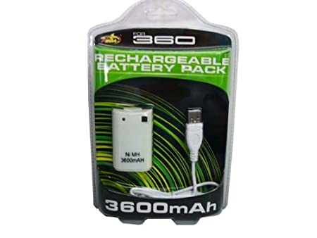 Xbox 360 3600mAh Rechargeable Battery Pack + USB Recharge Cable
