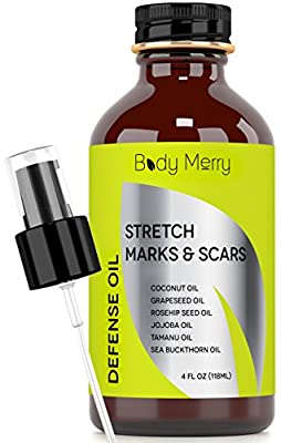 Stretch Marks & Scars Defense Oil - 6 Pure Oils w/o fillers - Fractionated Coconut Oil + Rose Hip + Tamanu + Jojoba + Grapeseed + Sea Buckthorn for Marks, Scars