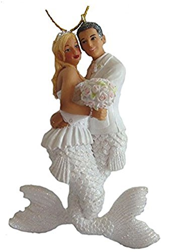 December Diamonds Wedding Couple Bride and Groom Mermaid and Merman Ornament
