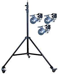 Ardinbir Studio 8.5\' 2.5m Studio Heavy Duty Spring Cushioned Tripod Light Stand Kit with Caster wheels for Boom Reflector Strobe Monolight