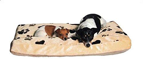 Karlie-Hundekissen-Track-Eckig-Liegekissen-Hundebett-Hunde-Kissen-Bett-Schlafplatz-FarbeBeigeGre60-x-45-x-8-cm