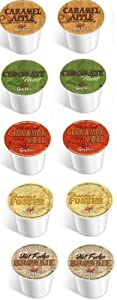 10 Pack - Guy Fieri FLAVORED Only Coffee Sampler, 2 each of the following NEW flavors -- Bananas Foster, Caramel Apple, Hot Fudge Brownie, Chocolate Mint, Cinnamon Roll
