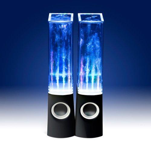 Enceintes fontaine LED – noir – puissance : 3W – 22 x 6 x 4,2 cm (HxlxP) – câble audio jack 3,5 mm – Câble USB – DIVERSES COULEURS AU CHOIX
