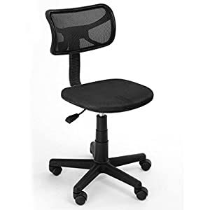 FurnitureR Black Mesh Office Computer Desk Chair Without Arms